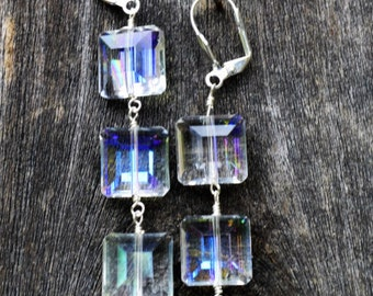Square AB Crystal and Silver Earrings (E-9)