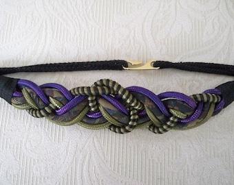 Vintage Accessory Women's Belt Braided Rope Belt Purple, Gold and Black