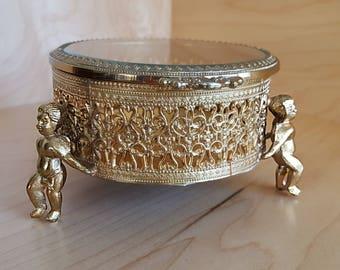 Filigree Jewelry Box with Cherubs Vintage 1970's