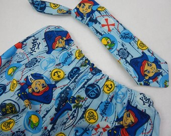 jake and the neverland pirates diaper cover or shorts with matching necktie,jake and the pirates cake smash,pirates birthday party,boy tie