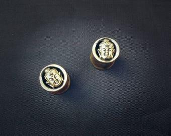 Buddha brass 8mm tribal ear  plugs