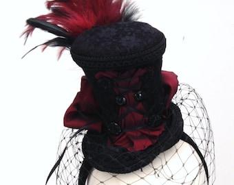 Black & burgundy burlesque bustle tea hat fascinator