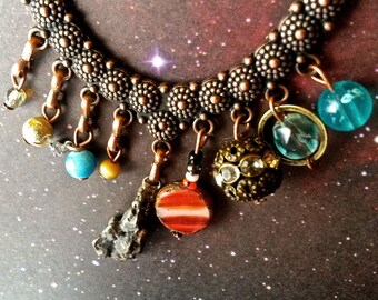 Metal METEORITE  - SOLAR SYSTEM Necklace of Fine Detail - Handmade Vintage Outer Space Jewelry (Planet 9 edition)