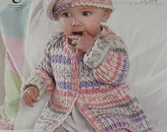 Baby Knitting Pattern K4011 Baby's Cable and Rib Coat and Beret Hat Knitting Pattern DK (Light Worsted) King Cole
