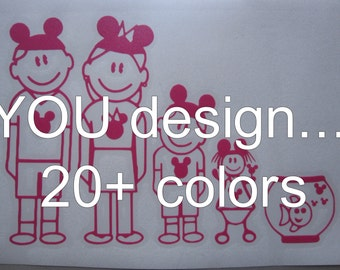 30+ figures to choose from YOU DESIGN  Disney Family Stick Figures Vinyl Window Decal / Sticker *Available in 24 Colors*