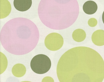 Nicey Jane by Heather Bailey - Free Spirit - Pattern Dream Dot, Color Celery. Pink and Green dots on White