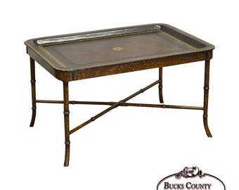 Maitland smith etsy maitland smith hand painted faux bamboo leather top tray top coffee table gumiabroncs Choice Image