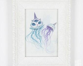 The Jelly-purrrs - small original, underwater art, magical creature art, framed original, mini art, watercolour painting, original art
