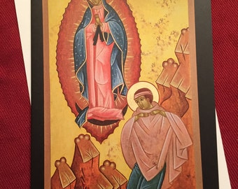 OUR LADY of GUADALUPE,Icon,Greeting Card,Catholic,Our Lady,Juan Diego,religous