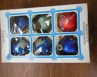 Vintage Christmas ornaments in Holly Glass Ornaments Box