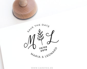 Save the Date Stamp • Round wooden stamp for your wedding • Wedding logo • Personalized Rubber Stamp