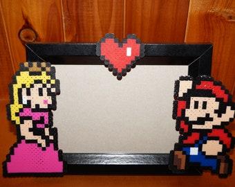 Super Mario and Princess Peach Perler Photo Frame
