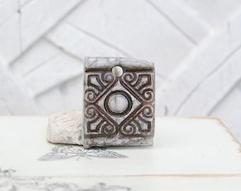 Ethnic pendant, Raku ceramic pendant, white, Brown, 1 X
