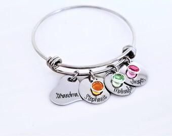 Personalized Grandma Expandable Bangle, Grandmother's Bracelet, Mommy Jewelry, Adjustable Bangle, Expandable Bracelet, Nana, MeMaw, Mema