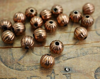 Antiqued Copper Bead 8mm Bead Vintage Antiqued Copper Plated Brass Bead Metal Bead (20) KP12