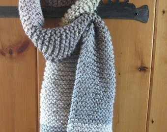 Chunky Hand-knit Winter Scarf, Wool/Acrylic Blend