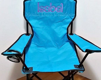 Birthday Gift - Beach Chair - Monogrammed Kids Folding Chair - Childrens Camping Chair - Kids Sports Chair - Personalized Outdoor Chair
