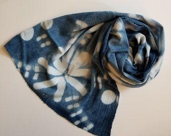 Indigo Scarf, Cotton Scarf, Hand dyed Scarf, Blue Scarf, Shibori Indigo, Lightweight Scarf, Summer Scarf, Boho look, All Seasons scarf,