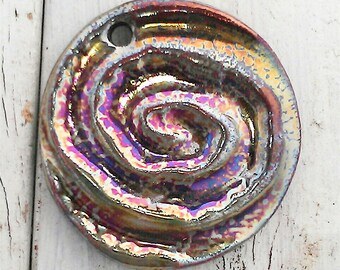 Ceramic Raku Pendant Cabochon Handmade Jewelry Supply by LauraSouder