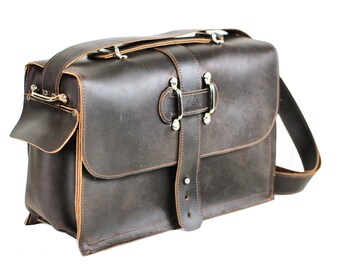 Men's Leather Satchel - Chocolate Brown Leather Messenger Bag - Leather Laptop Bag - Rustic Industrial Briefcase Design