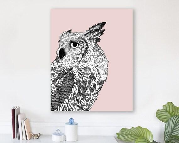 large modern wall art on canvas, minimalist fine art, colorful modern wall art, owl wall art, woodland nursery art - Dreaming of Full Moons