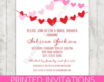 Valentines Bridal Shower Invitation - Printed Valentines Bridal Shower Invitation by Dancing Frog Invitations