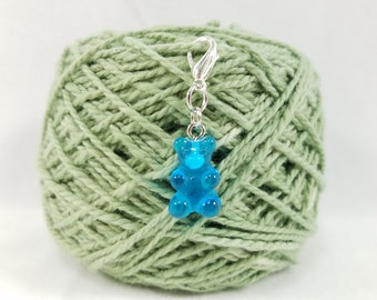 Blue Gummy Bear Lobster Clasp Stitch Marker, Progress Keeper, Zipper Pull, Stitch Keeper, Dangle Charm