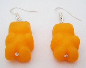 Orange Teddy bear earrings Fimo polymer clay