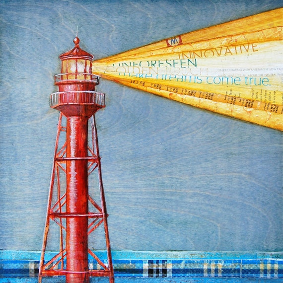 Lighthouse ART PRINT or CANVAS sanibel island summer retirement nautical coastal beach home wall decor painting collage gift her,All Sizes