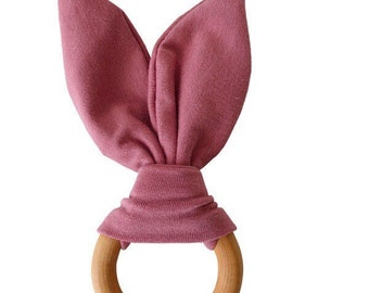 Crinkle Bunny Ears Teether Toy | Mauve