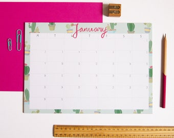 Desk Pad Calendar / A4 Monthly Calendar / Illustrated Calendar / Cute Calendar