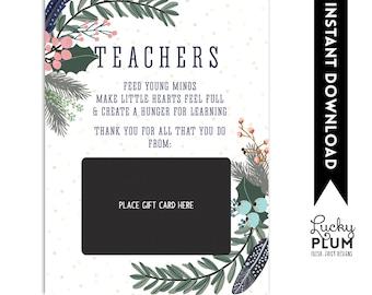 Teacher Gift Card Holder / Teacher Thank You Card / Christmas Gift Card Holder / Teacher Appreciation Gift / Thanks for Being a Deer Teacher