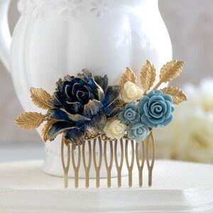 Navy Blue Bridal Hair Comb, Gold Navy Blue Wedding, Something Blue Wedding, Flower Hair Comb, Gold Dusky Blue Ivory Rose Gold Leaf Hair Comb