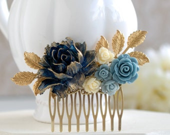 Navy Blue Bridal Hair Comb, Gold Navy Blue Wedding, Something Blue Wedding, Flower Hair Comb, Gold Dusky Blue Ivory Rose Gold Leaf Hair Comb