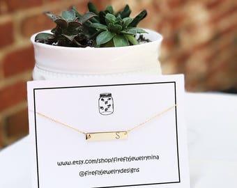 Monogram initial bar necklace