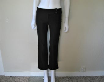 ribbed black low rise high water black flare pants