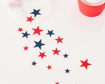 Blue and Red Star Confetti