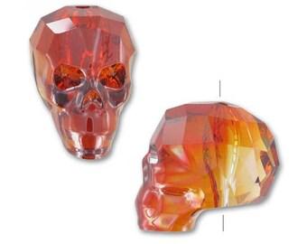 5750 RED MAGMA 13mm Swarovski Crystal Skull Bead, Deep Red Skeleton Skull Bead