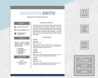 Resume Template Word, Modern Contemporary Resume, 2 Page CV, Cover Letter,  References
