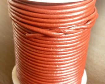 Brick Red Leather Cord - 2mm Leather Cord - Wrap Bracelet Leather - Wrap Bracelet Supplies - Autumn Craft Supplies - 2mm Brick Red Leather