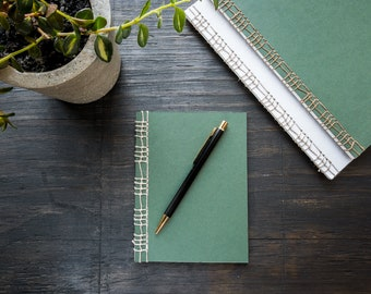 Green Handmade Notebook with Cover Flap, Stitched Binding with Hemp Cord, Lined Recycled Paper, Travel Notebook, Journal