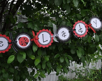 Ladybug Baby Shower Banner - It's a Little Lady Banner - Baby Shower Decorations - Ladybug Banner