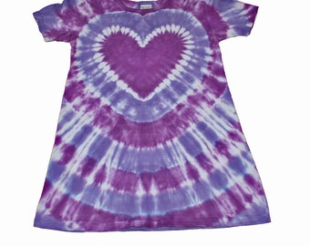 Girls Tie Dye Dress in Purples with a Purple Heart- comfortable and fun for spring and summer
