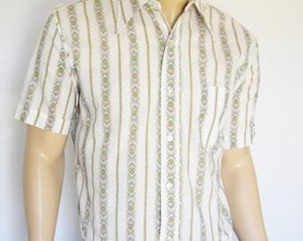 Vintage 1960's / 70's  SEARS Men's Store 50's Style HIPPiE StrIPeD MoD Beatnik Shirt  SIze  XL
