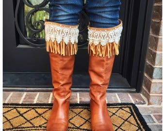 Fringe Lace and Pearl Boot Toppers / Boot Cuffs / Leg Warmers / Accessories / Gift / Free Shipping