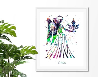 Virgo #2 Watercolor  Astrology Art, Print, Virgo  Sign , Virgo Zodiac, Virgo Wall Art,  Virgo Poster, Gift for  Virgo