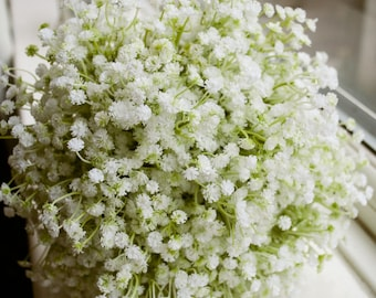 Natural gypsophilia (baby's breath) silk wedding bouquet. Made with artificial gypsophilia.