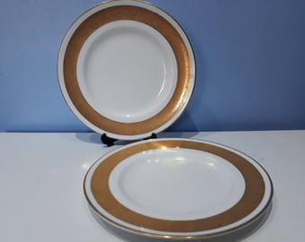 Pair of Royal Worcester Corona bone china side plates, 2 8 inch white and gold vintage salad plates made in England. Christmas tableware