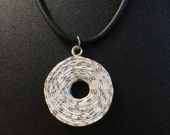 Rolled Magazine necklace, Anniversary gift for her, Recycled paper necklace, Necklace pendant, Upcycled newspaper necklace, choker necklace