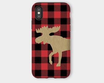 Moose Rustic Lumberjack Buffalo Plaid Pattern iPhone X Snap or iPhone X Tough Phone Case, Moose Phone Case